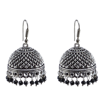 Black Beaded Indian Jhumkahandmade Hook Earringsjaipur Jewellery