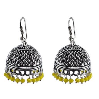 Large Vintage Tribal Jewelryyellow Crystal Dangle Earringsjaipuri Jhumki With Beautiful Beads