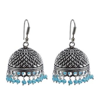 Rajasthani Tribal Large Jhumka With Blue Topaz Crystaljaipur Traditional Jewellery