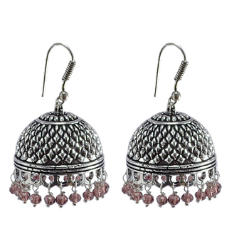 Explicative Amethyst Crystal Alloy Oxidised Traditional Jhumki Earringsjaipur Jewelry With Tribal Collection