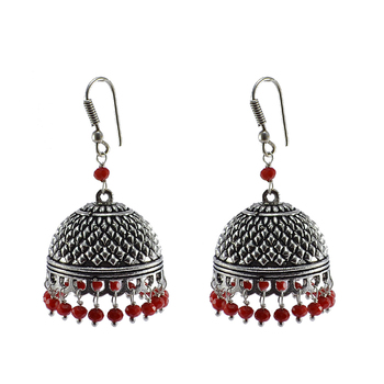 Silvesot India Beautifully Expressive 30.6 Grams Handmade Alloy Oxidized Jhumka Earrings With Tiny Red Crystals