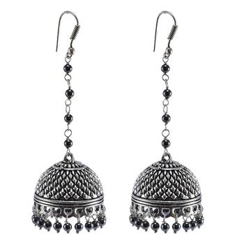 Contemporary Designer Long Jhumka Earrings Filled With Sleek Black Hematite Beads