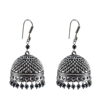 Exotic Elegance Hematite Jhumki Earringsbanjara Rajasthani Jewelry