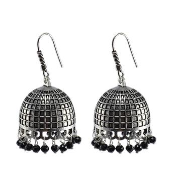 3Mm Black Crystal Beadstraditional Jaipuri Jhumka Earringslarge Vintage Tribal Jewelry