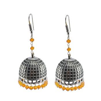 Jaipur Traditional Oxidized Silver Gift Drop Handmde Earring Silver Jhumkas With Orange Crystal Beads