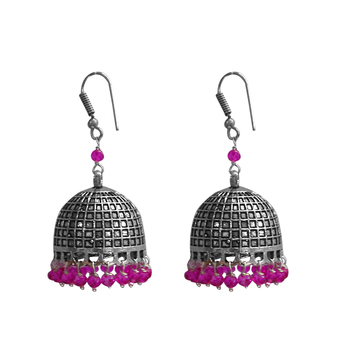 Hand Crafted Jaipur Jhumka Earrings With Pink Crystal