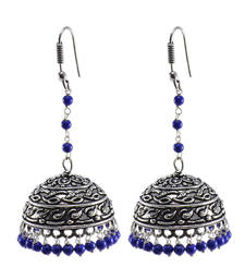 Buy Traditional Symbolic Jewelry25.6 Gram Reconstituted Lapis Oxidized Handmade Jhumki Earrings oxidised-jewellery online