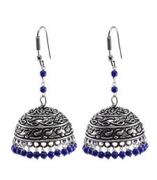Buy Reconstituted Lapis Layer Big JhumkaOxidized Jhumki Handcrafted Earrings oxidised-jewellery online