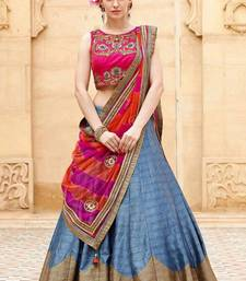 Buy grey banglori silk embroidered unstitched lehenga choli punjabi-lehenga online