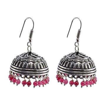 Seductive 21.9 Grams Handmade Alloy Oxidized 3 Mm Pink Quartz Jaipur Jhumki Jewellery