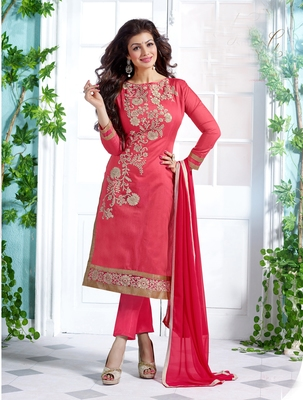 Pink embroidered Chanderi unstitched kameez with dupatta