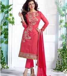 Pink embroidered Chanderi unstitched kameez with dupatta