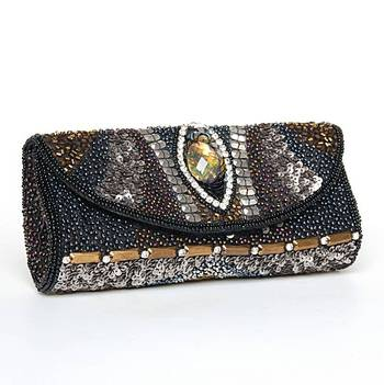 Black Metallic Abstract Embroidered Clutch
