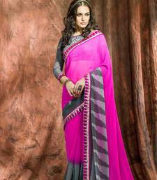Buy Pink printed georgette saree with blouse