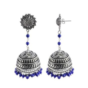 Blue Beaded Jewellery Jhumkas