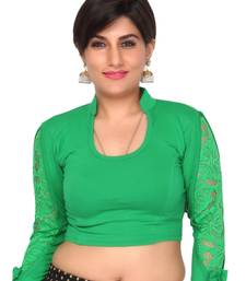 Buy Green hosiery stretchable solid readymade blouse readymade-blouse online