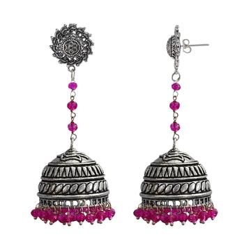Pink Stone Jhumkas
