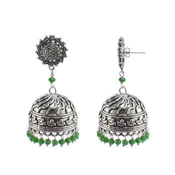 Green Silver Plated Jhumkas