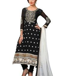 Buy Black printed poly cotton salwar with dupatta dress-material online