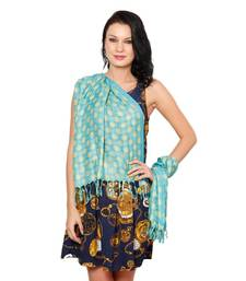 Buy Favola Blue & Yellow Threadwork Stole stole-and-dupatta online