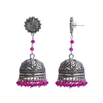 Pink Beaded Jewellery Jhumkas