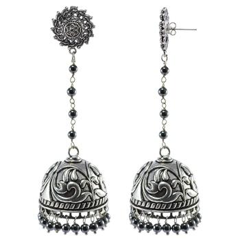 Black Beaded Jewellery Jhumkas