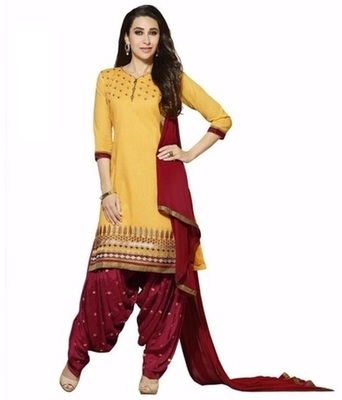 Yellow crepe printed unstitched salwar with dupatta