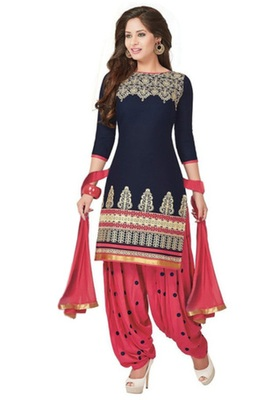 Blue crepe printed unstitched salwar with dupatta