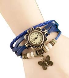 Buy Blue colour latest leather strap anlong wrist watch watch online