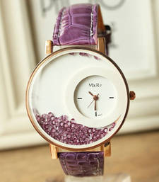 Purple colour latest leather strap anlong wrist watch
