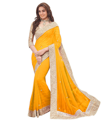 multicolor embroidered chiffon saree with blouse