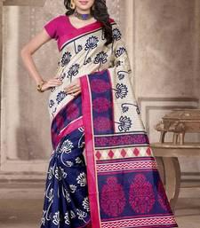 Buy navy blue printed bhagalpuri cotton saree with blouse bhagalpuri-silk-saree online