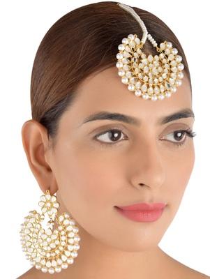 Off-White Pearls and Kundan Embellished Dangler Earrings cum Maang Tika Set 217MT75