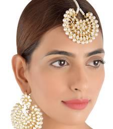 Buy Off-White Pearls and Kundan Embellished Dangler Earrings cum Maang Tika Set 217MT75 black-friday-deal-sale online