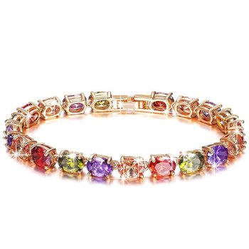Multicolor cubic zirconia bangles-and-bracelets