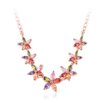 Multicolor cubic zirconia necklaces
