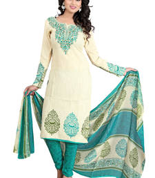 Buy Cream and green poly cotton printed unstitched salwar with dupatta cotton-salwar-kameez online