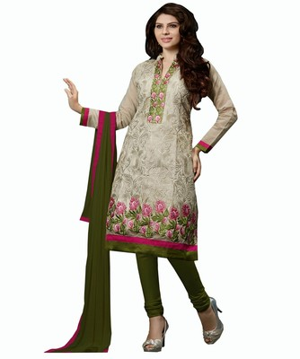 Women Grey chanderi embroidered unstitched salwar with dupatta
