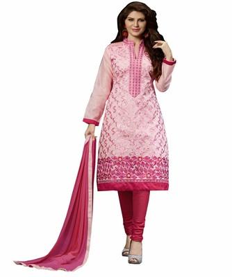 Women Pink chanderi embroidered unstitched salwar kameez with dupatta