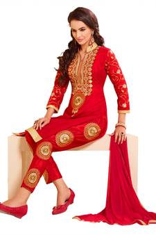 92ba2d48a865d Women Red chanderi embroidered unstitched salwar kameez with dupatta