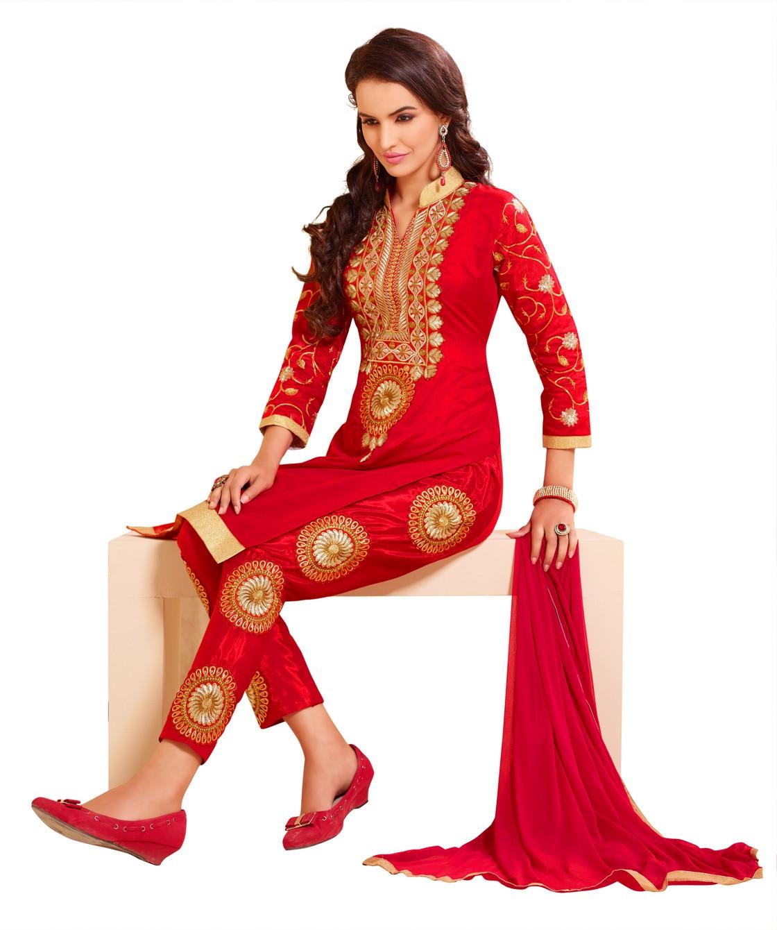 b3d5a01b0 Women Red chanderi embroidered unstitched salwar kameez with dupatta -  DnVeens - 1565006