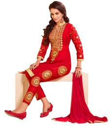 Women Red chanderi embroidered unstitched salwar kameez with dupatta