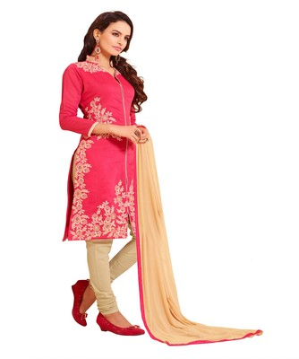 Cotton Blend embroidered unstitched salwar Suit with dupatta