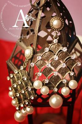 Bronze Gold Chandelier Earrings with Pearls Hanging studded Teardrops