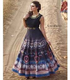 Buy Blue silk printed semi stitiched salwar with dupatta party-wear-gown online