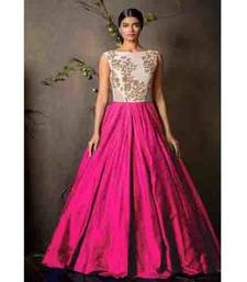 Buy Pink net embroidered semi stitiched salwar with dupatta party-wear-gown online