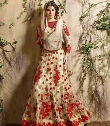 Buy Red embroidered net unstitched lehenga eid-lehenga online