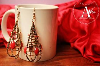 PARIS - Eiffel Tower French Clip Antique Red Stone Earrings