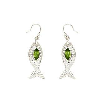 2ct Peridot Semi precious gemstone-earrings