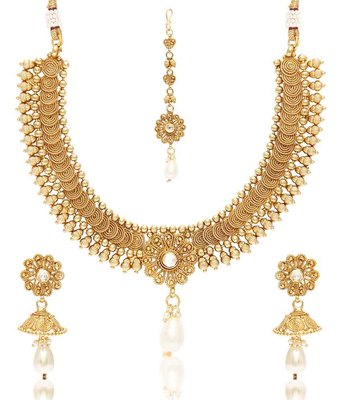 Gold Pearl Necklace Sets